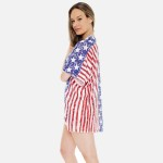 Wholesale women s Lightweight Distressed Stars Stripes Kimono One fits most L Po
