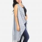 Wholesale women s Lightweight Fringe Tassel Lace Vest One fits most L Polyester