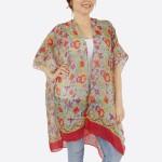 Wholesale women s Short Lightweight Oriental Floral Print Kimono One fits most L