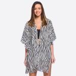 Wholesale women s Lightweight Zebra Print Ruffle Kimono One fits most L Polyeste
