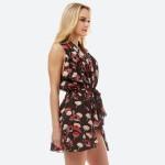 Wholesale women s Lightweight Floral Print Rounded Vest Front Tie Closure Front