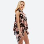 Wholesale women s Lightweight Rose Floral Print Vest One fits most L back front