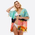Wholesale women s Short Lightweight Summer Beach Print Tassel Kimono One fits mo