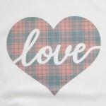 Wholesale white Gildan Dryblend brand vintage plaid love script heart screen pri