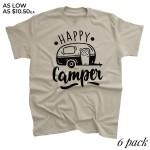 Wholesale tan Bella Canvas brand short sleeve Happy Camper screen printed boutiq