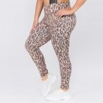 Wholesale women s Active XL Leopard Print Workout Leggings o rise elasticized wa