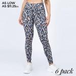 Wholesale women s Active Leopard Print Workout Leggings o rise elasticized waist