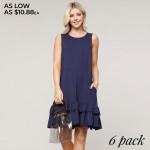 Wholesale women s Sleeveless Ruffle Pocket Dress o Sleeveless o Crew neck o Side