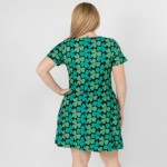 Wholesale women s Plus St Patrick s clover dress side pockets o Short sleeves o