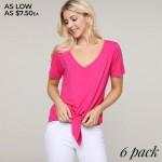 Wholesale women s Fuchsia short sleeve split front tie top o V neckline o Short