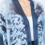 Wholesale women s lightweight Blue tie dye print kimono One fits most L Viscose