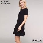 Wholesale women s Solid Ruffle Trim Dress o Short sleeves o Crew neckline o Side