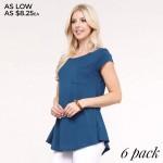 Wholesale women s solid short sleeve pocket tee keyhole back detail o Short slee