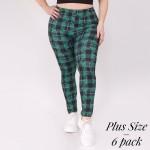 Wholesale women s Plus plaid clover print leggings o rise elasticized waistband