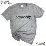 Wholesale heather Grey Gildan Softstyle Brand Homebody Printed Boutique Graphic