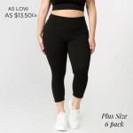 Wholesale women s Plus Active Buttery Soft Capri Leggings o rise waistband lies