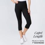 Wholesale mix Brand Solid Black Peach Skin Capri Leggings Elastic Waistband Ins