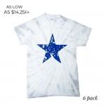 Wholesale distressed Star Tie Dye Tee Printed ColorTone Brand Tee Pack Breakdown