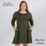 Wholesale women s Plus Solid Sleeve Swing Dress Side Pockets o Relax Scoop Neckl