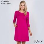 Wholesale women s Solid Sleeve Swing Dress Side Pockets o Relax Scoop Neckline o