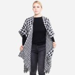 Wholesale reversible Buffalo Check Houndstooth Winter Kimono Frayed Trim One fit