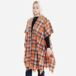 Wholesale women s Plaid Print Short Sleeve Kimono One fits most L Acrylic