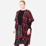 Wholesale women s Plaid Print Short Sleeve Kimono One fits most L Acrylic