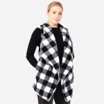 Wholesale women s Faux Fur Buffalo Check Vest One fits most L Crepe Satin Lined