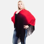 Wholesale women s Ombre Waffle Knit Poncho Fringe Tassels One fits most L Acryli