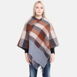 Wholesale women s Colorblock Knit Poncho Fringe Tassels One fits most L Polyeste