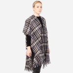 Wholesale women s Soft Small Plaid Print Kimono Frayed Trim One fits most L Acry