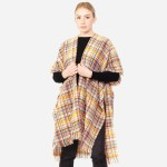 Wholesale women s Soft Small Plaid Print Kimono Frayed Trim One fits most L Acry