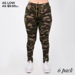 Wholesale women s Classic Camouflage Skinny Drawstring Pants Distressed Details