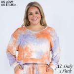 Wholesale women s Long Sleeve Lounge Tie Dye Top PACK XL TOP ONLY NOT SET o Long