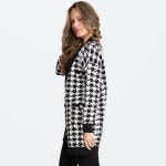 Wholesale women s Houndstooth Knit Cardigan Front Pockets Button Details One fit
