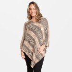 Wholesale fuzzy Knit Multicolor Stripe Poncho One fits most L Acrylic