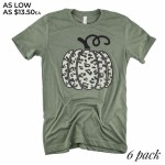 Wholesale leopard Print Pumpkin Graphic Tee Printed Gildan Softstyle Brand Olive