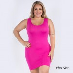 Wholesale women s Plus Seamless Tank Slip Dress o Sleeveless o Scoop neckline o