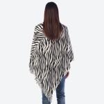 Wholesale women s Zebra Print Knit Poncho Fringe Tassel Trim One fits most Long