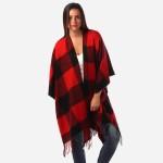 Wholesale women s Buffalo Check Knit Ruana Wrap Fringe Tassel Trim One fits most