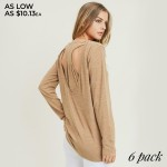 Wholesale women s Heather Knit Long Sleeve Racerback Relaxed Fit Top PACK o Long