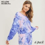 Wholesale women s Long Sleeve Lounge Tie Dye Top PACK TOP ONLY o Long sleeves o