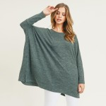 Wholesale women s Oversized Dolman Sleeve Tunic Top PACK o Round neckline o Drop