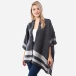 Wholesale women s Winter Fuzzy Knit Kimono Bordered Whipstitch Trim One fits mos