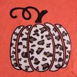 Wholesale leopard Print Pumpkin Graphic Tee Printed Heather Burnt Orange Gildan
