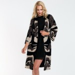 Wholesale do everything Love Brand Fuzzy Knit Abstract Print Maxi Cardigan One f
