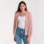 Wholesale do everything Love Brand Short Fuzzy Lurex Knit Cardigan Balloon Sleev