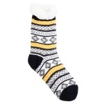 Wholesale assorted Sweater Print Sherpa Slipper Socks Pack One fits most Non sli