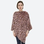Wholesale women s Pink Faux Fur Leopard Print Poncho One fits most L Polyester