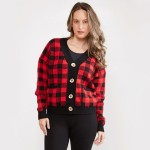 Wholesale women s Buffalo Check Knit Cardigan Button Closure Two Functional Fron